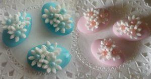 Confetti nascita maschio, azzurri. Bambina, rosa.